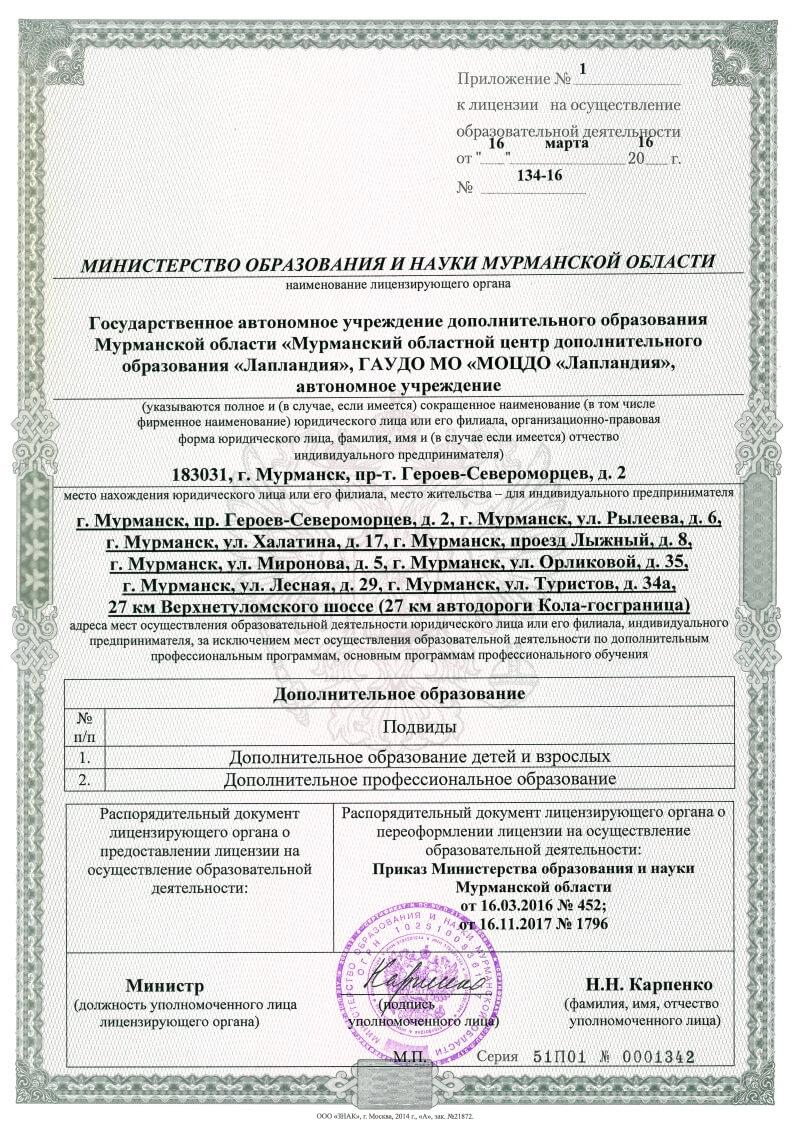 Приложение к лицензии от 16.04.2016 №134-16